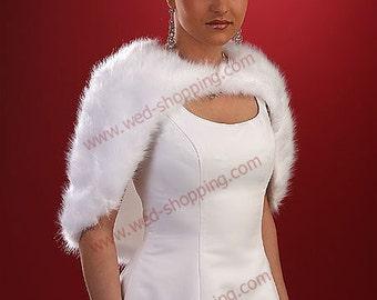 Cappelet Wedding CapeStole Wrap Cape Shrug E1002a Fake Fox White Ivory