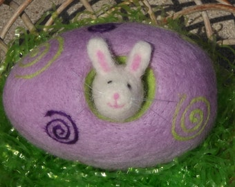 Easter Bunny And Egg Needlefelted Wool Handmade Spring Friend