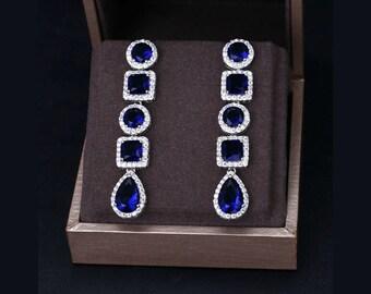 Sapphire statement earrings, luxury bridal earrings, Art Deco chandelier earrings, long earrings