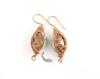 Legacy polymer clay and wire wrapped earrings