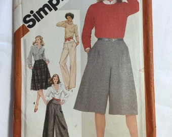 1981 Simplicity pattern 5177 Misses size 12 Pants, Culottes & Yoked Skirt, Uncut