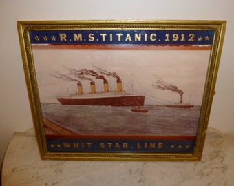 Vintage RMS TITANIC water color in wood frame signed DESCHENES – circa 1972