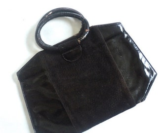 SUMMER CLEARANCE Chocolate Brown Suede and Pleather Handbag