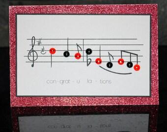 Handmade music 'Congratulations' card