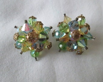 1950s Green & Blue Crystal Cluster Clip Earrings