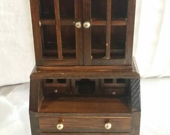 Vintage Wood China Curio Cabinet Dollhouse