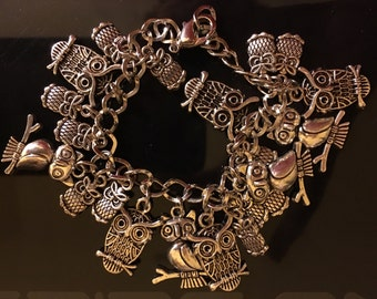 Owl charm bracelet, loaded with 21 assorted Tibetan silver, Owl charms.  U.S. Seller Free shipping
