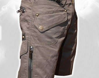 Men Short Pants Hipster, Tribal, Steampunk, Adventure Wear, Burning Man, Suit, Pocket Pants, Brass hard wear,