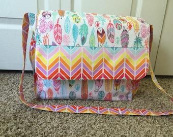 Feather Messenger Diaper Bag/Baby Bag/Baby Tote/Messenger Bag