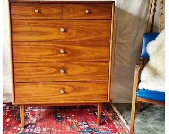 MCM Drexel Walnut Highboy Dresser