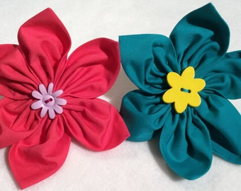 Plain Fabric Petal Collar Flowers