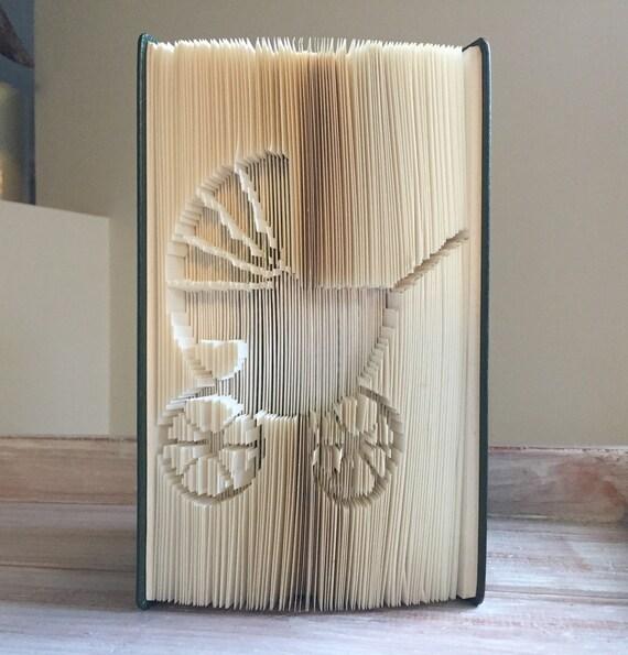 Baby Pram with Love Heart - Folded Book Art