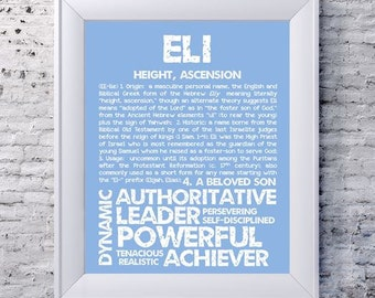 ELI Personalized Name Print / Typography Print / Detailed Name Definitions / Numerology-calculated Destiny Traits / Educational