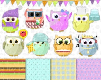 "9 Owls cliparts + 4 digital papers. Owls vector graphics and digital papers. Commercial use. Model ""Owls Mix"""