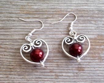 Filigree Silver Heart Earrings, Bridal Earrings, Copper Dark Brown Pearl Bead Hearts, Bridal Jewelry, Copper Pearl Earrings, Heart Jewelry