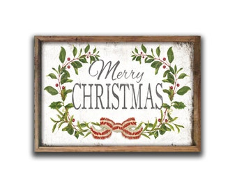 "Merry Christmas wooden sign Merry Christmas 19.25""x13.25""x2"" sign Farmhouse Christmas Cottage Christmas Christmas signs Christmas wall decor"
