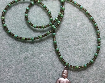 Buddha and glass bead necklace