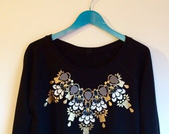 HAND EMBELLISHED JUMPER in black, white, grey and gold. Organic cotton women's sweatshirt customised by hand. Ethical fashion.