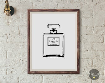 Chanel wall art, Transparent chanel bottle print, Coco Chanel poster, Chanel poster, Chanel perfume wall art, Chanel No 5, chanel print