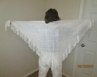 Bright White triangular acrylic shawl