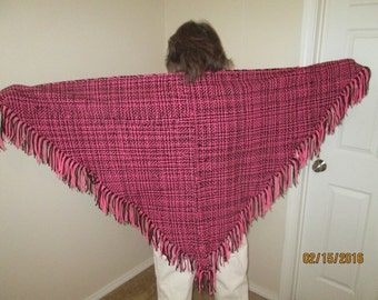 double wove, pink and black 6' shawl