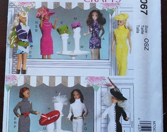 McCalls Pattern #7067, Contemporary Barbie/Fashion Doll Clothes, New