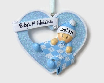 Baby Boy in a Heart Personalized Ornament - Baby Boy - Baby's First Christmas - Hand Personalized Christmas Ornament