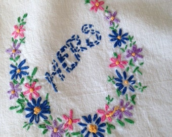 HIS AND HERS Pillowcases, Embroidered Pillowcases, Vintage Pillowcases,  Handmade Pillowcases,  Muslin Pillowcases,  Homespun Pillowcases
