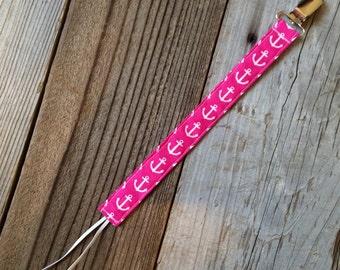 Hot pink nautical pacifier clip, nautical binky clip, nautical soothie clip