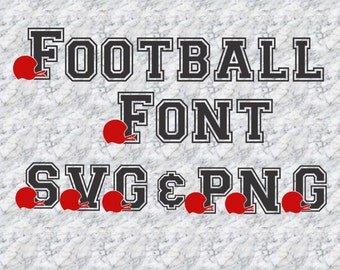SVG Football Helmet Font Alphabet Numbers Special Characters for Cutting Machines