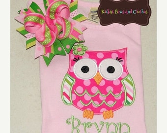 O SALE Spring Owl Applique Shirt and Matching Hairbow -  Summer - Hoot Hoot