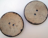 "2"" (50 mm) extra large buttons from natural coconut shell 2 pcs for knitting, crocheting sewing felt making and other crafts"