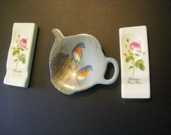 3 Pc. Tea time SET  teaspoon and teabag holders