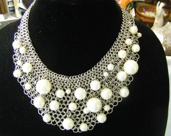 vtg .R.GRAZIANO STATEMENT necklace.  faux pearl  baubles on chainmail bib. STUNNING