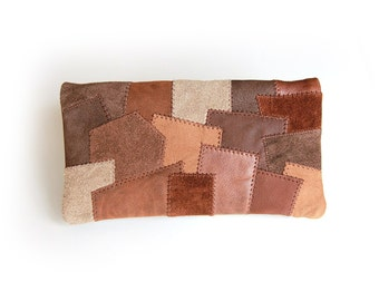 Wild, smooth and nubuck leather-Patchwork-wallet