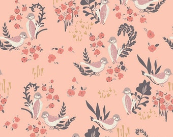 ORGANIC Cotton - Feathered Fellow Blush, Hello Ollie Collection by Bonnie Christine for Art Gallery Fabrics