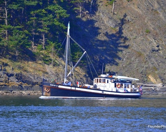 David B with tree shadow near Lummi Island, nautical themed picture, motor vessel cruising, wall art