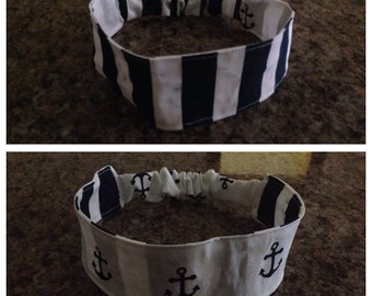 Navy and blue striped/anchor adult reversible fabric headband/hairband/hair accessory