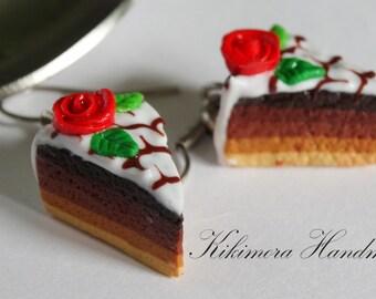 Polymer Cake Earrings, Polymer Clay Earrings, Polymer Rose Cake Earrings, Piece of Cake Earrings, Miniature Polymer Food Jewelry