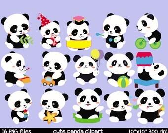 Panda clipart | Cheerful panda clipart | baby room clipart printable | cute panda clipart | happy panda clip art