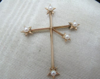Vintage Southern Cross Constellation Brooch with Pearls in 14k Yellow Gold