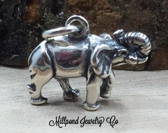 Elephant Charm, Elephant Pendant, Sterling Silver Elephant Charm, Pachyderm Charm, Jewelry Supplies, PS3168