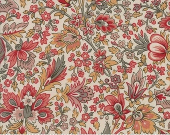 Madame Rouge Fabric by the Yard, French General Quilt Fabric, Moda Fabric, Madame Rouge Safran Pearl, Floral Quilt Fabric, 13770 12