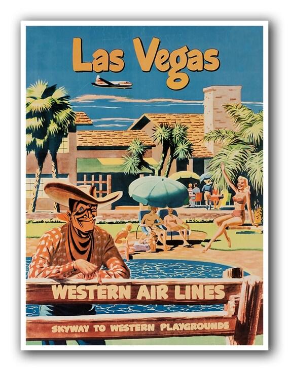Items similar to las vegas art print travel poster vintage for Home decor las vegas