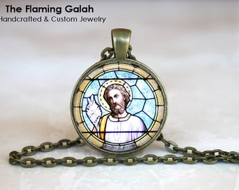 JESUS Pendant •  CHURCH WINDOW Pendant •  Jesus Stained Glass Style •  Christian Jewellery •  Made in Australia •  (P0678)