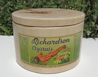Blonde Wooden Canister with Richardson Springs Crystals Laxative Label, Natural Cottonwood Canister with Vintage 1930's Label