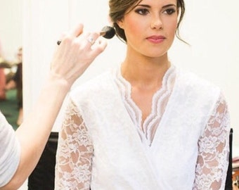 Brides Lace Robe-the Milan wedding robe LINED, can be embroidered