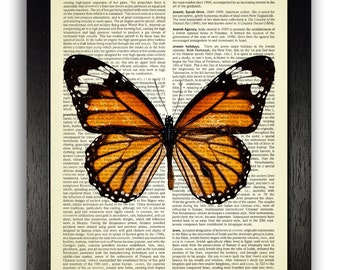 Monarch Butterfly Art Print on Dictionary Page, Butterfly Poster Wall Decor Gift for Girlfriend, Orange Home Wall Decor Dictionary Book Art