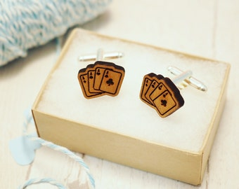 Playing Card Cuff Links | Wooden Cuff Links