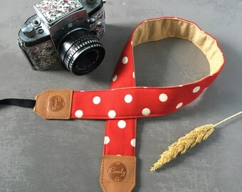 Polka Dot DSLR camera strap, Red  Polka Dot Camera Strap, leather camera Strap ,